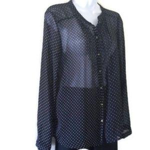 Zara black and white polka dot sheer blouse, sz M